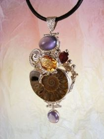gregory pyra piro one of a kind #pendant in sterling silver and gold with gemstones