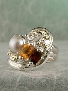 Original Handmade by Artist Designer Maker, Gregory Pyra Piro One of a Kind Original #Handmade #Sterling #Silver and #Gold, Jewellery in #London, #Art Jewellery, #Jewellery Handcrafted by #Artist, #Citrine and #Garnet #Ring 8572