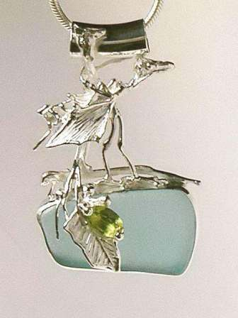 A Unique Sculptural Archaeopteryx Pendant created by Gregory Pyra Piro