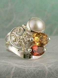 Original Handmade by Artist Designer Maker, Gregory Pyra Piro One of a Kind Original #Handmade #Sterling #Silver and #Gold, Jewellery in #London, #Art Jewellery, #Jewellery Handcrafted by #Artist, #Citrine and #Garnet #Ring 7482