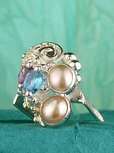 Original Handmade by Artist Designer Maker, Gregory Pyra Piro One of a Kind Original #Handmade #Sterling #Silver and #Gold, Jewellery in #London, #Art Jewellery, #Jewellery Handcrafted by #Artist, #Amethyst and Blue Topaz #Ring 9785
