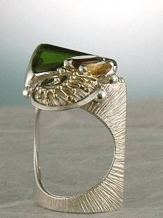 Original Handmade by Artist Designer Maker, Gregory Pyra Piro One of a Kind Original #Handmade #Sterling #Silver and #Gold, Jewellery in #London, #Art Jewellery, #Jewellery Handcrafted by #Artist, #Citrine and #Garnet #Ring 9054