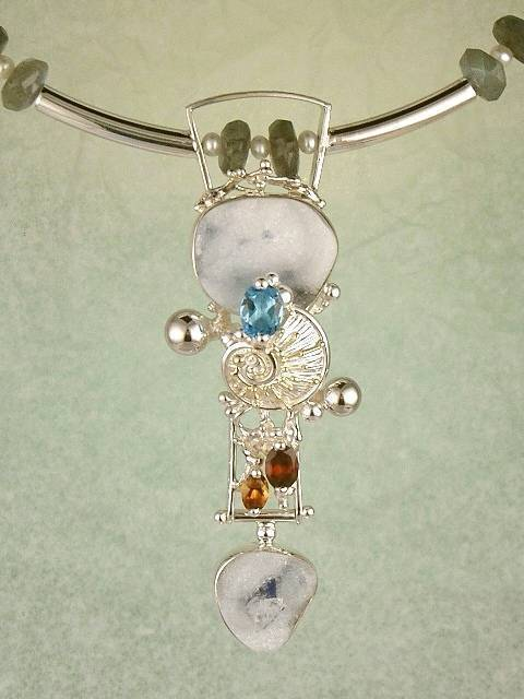 Original Handmade by Artist Designer Maker, Gregory Pyra Piro One of a Kind Original #Handmade #Sterling #Silver and #Gold, Jewellery in #London, #Art Jewellery, #Jewellery Handcrafted by #Artist, #Citrine and #Garent #Necklace 2957