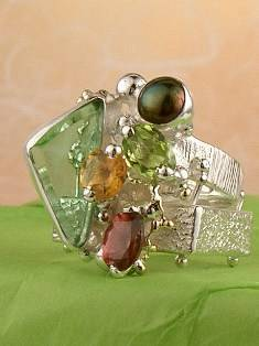 Original Handmade by Artist Designer Maker, Gregory Pyra Piro One of a Kind Original #Handmade #Sterling #Silver and #Gold, Jewellery in #London, #Art Jewellery, #Jewellery Handcrafted by #Artist, #Citrine and #Peridot #Ring 20202