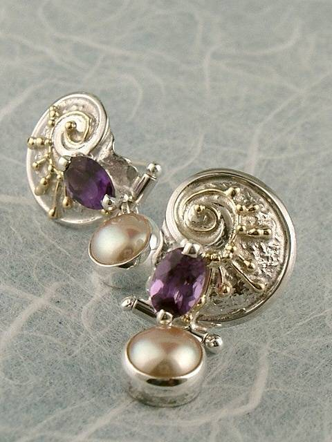 Original Handmade by Artist Designer Maker, Gregory Pyra Piro One of a Kind Original #Handmade #Sterling #Silver and #Gold, Jewellery in #London, #Art Jewellery, #Jewellery Handcrafted by #Artist, #Earrings 3632