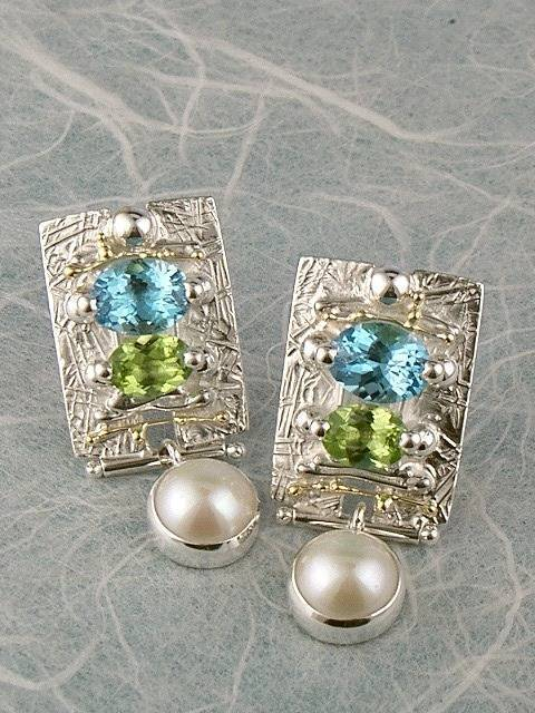 Follow us, Join us on Facebook, and visit http://www.designerartjewellery.com, Gregory Pyra Piro One of a Kind Handmade Jewellery in London in Silver and Gold, Bespoke Jewellery with Semi Precious Stones, #Peridot and Blue Topaz #Earrings 8030