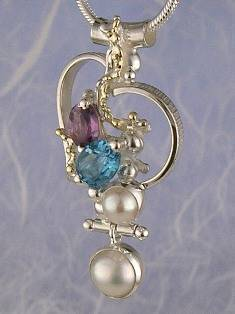 Original Handmade by Artist Designer Maker, Gregory Pyra Piro One of a Kind Original #Handmade #Sterling #Silver and #Gold, Jewellery in #London, #Art Jewellery, #Jewellery Handcrafted by #Artist, #Amethyst and Blue Topaz #Pendant 5387
