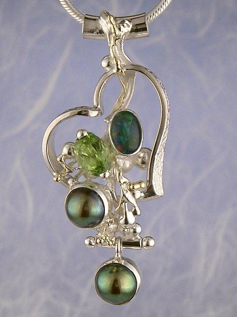 Original Handmade by Artist Designer Maker, Gregory Pyra Piro One of a Kind Original #Handmade #Sterling #Silver and #Gold, Jewellery in #London, #Art Jewellery, #Jewellery Handcrafted by #Artist, #Opal #Pendant 4939