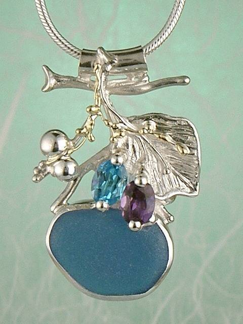 Original Handmade by Artist Designer Maker, Gregory Pyra Piro One of a Kind Original #Handmade #Sterling #Silver and #Gold, Jewellery in #London, #Art Jewellery, #Jewellery Handcrafted by #Artist, #Amethyst and Blue Topaz #Pendant 9562