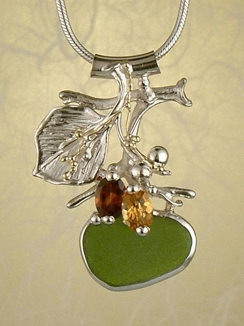 Original Handmade by Artist Designer Maker, Gregory Pyra Piro One of a Kind Original #Handmade #Sterling #Silver and #Gold, Jewellery in #London, #Art Jewellery, #Jewellery Handcrafted by #Artist, #Citrine and #Garnet #Pendant 8572