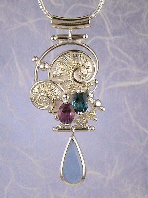 Original Handmade by Artist Designer Maker, Gregory Pyra Piro One of a Kind Original #Handmade #Sterling #Silver and #Gold, Jewellery in #London, #Art Jewellery, #Jewellery Handcrafted by #Artist, #Amethyst and Blue Topaz #Pendant 3827