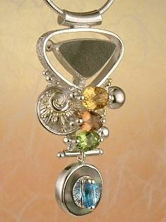 Original Handmade by Artist Designer Maker, Gregory Pyra Piro One of a Kind Original #Handmade #Sterling #Silver and #Gold, Jewellery in #London, #Art Jewellery, #Jewellery Handcrafted by #Artist, #Citrine and #Peridot #Pendant 3843