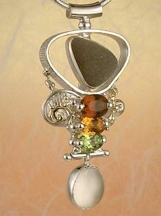Original Handmade by Artist Designer Maker, Gregory Pyra Piro One of a Kind Original #Handmade #Sterling #Silver and #Gold, Jewellery in #London, #Art Jewellery, #Jewellery Handcrafted by #Artist, #Citrine and #Peridot #Pendant 4632
