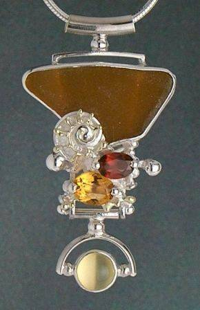 Gregory Pyra Piro One of a Kind Handmade Original Sterling Silver and 18 Karat Gold Pendant with Moonstone