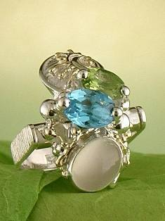 Follow us, Join us on Facebook, and visit http://www.designerartjewellery.com, Gregory Pyra Piro One of a Kind Handmade Jewellery in London in Silver and Gold, Bespoke Jewellery with Semi Precious Stones, #Peridot and Blue Topaz #Ring Pendant 2893