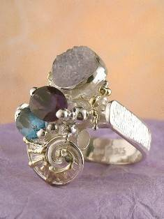 Original Handmade by Artist Designer Maker, Gregory Pyra Piro One of a Kind Original #Handmade #Sterling #Silver and #Gold, Jewellery in #London, #Art Jewellery, #Jewellery Handcrafted by #Artist, #Amethyst and Blue Topaz #Ring Pendant 7562