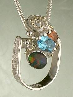 Get a Unique Ring Pendant like this that Works as both a Ring and a Pendant,  Gregory Pyra Piro, #Handmade #Sterling #Silver and #Gold, #Art Jewellery, #Jewellery Handcrafted by #Artist, #Ring Pendant 3692