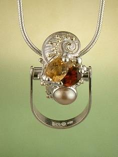 Original Handmade by Artist Designer Maker, Gregory Pyra Piro One of a Kind Original #Handmade #Sterling #Silver and #Gold, Jewellery in #London, #Art Jewellery, #Jewellery Handcrafted by #Artist, #Citrine and #Garnet #Ring 9672