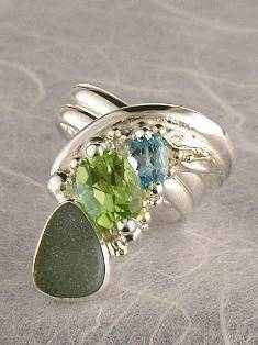 Follow us, Join us on Facebook, and visit http://www.designerartjewellery.com, Gregory Pyra Piro One of a Kind Handmade Jewellery in London in Silver and Gold, Bespoke Jewellery with Semi Precious Stones, #Peridot and Blue Topaz #Ring 4538
