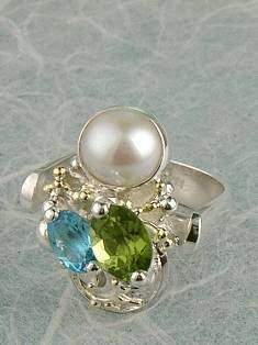 Follow us, Join us on Facebook, and visit http://www.designerartjewellery.com, Gregory Pyra Piro One of a Kind Handmade Jewellery in London in Silver and Gold, Bespoke Jewellery with Semi Precious Stones, #Peridot and Blue Topaz #Ring 2792