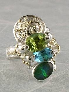 Follow us, Join us on Facebook, and visit http://www.designerartjewellery.com, Gregory Pyra Piro One of a Kind Handmade Jewellery in London in Silver and Gold, Bespoke Jewellery with Semi Precious Stones, #Peridot and Blue Topaz #Ring 8014