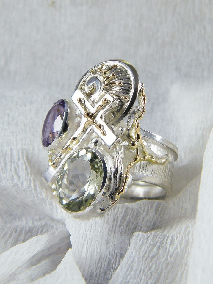 Cross Ring #6391, Sterling Silver, Gold, Amethyst, Prasiolite, Original Handmade