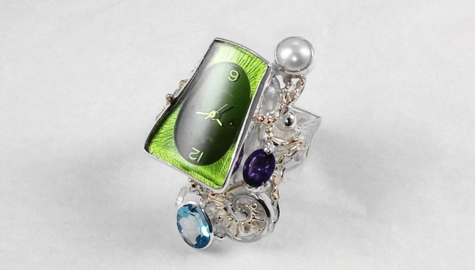 Contemporary Ring #5381, original handmade in sterling silver with solid 14 karat gold, blue topaz, amethyst, pearl
