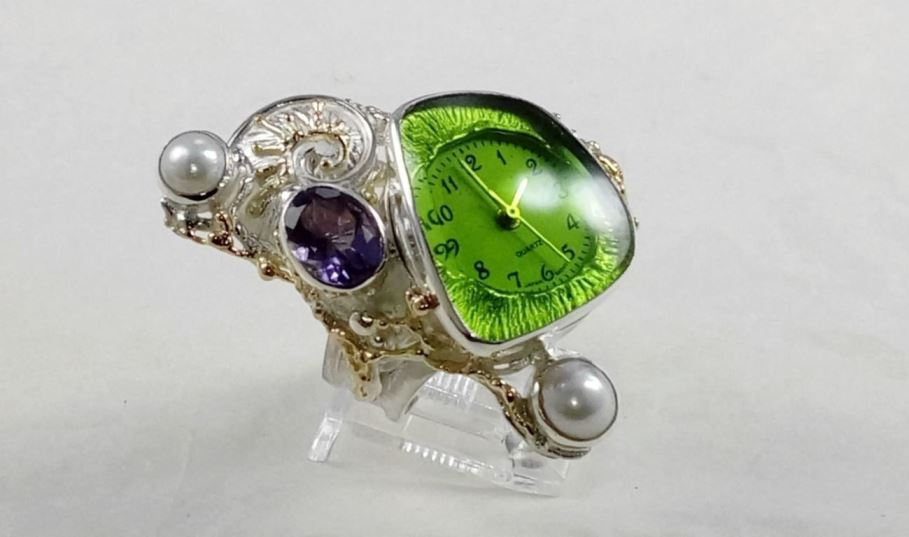 Ring with Watch #5282, original handmade in sterling silver with solid 14 karat gold, amethyst, pearl