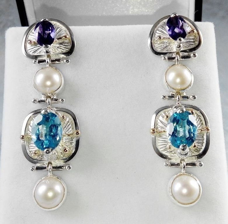 Boucles n° 2933, argent massif et or 585, topaze bleue, iolite, perles, original handmade, one of a kind jewelry, Gregory Pyra Piro