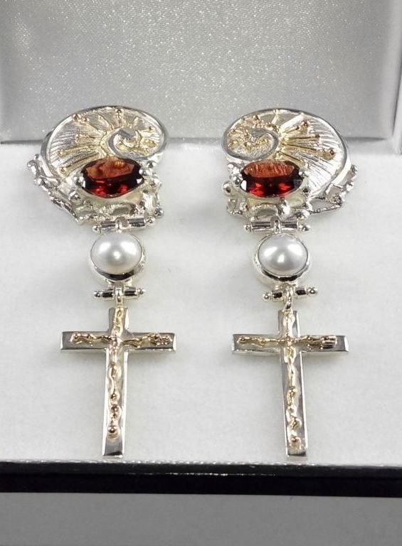 Earrings #4386, sterling silver, gold, garnet, pearls, original handmade, one of a kind jewellery, art jewellery, Gregory Pyra Piro