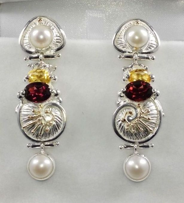 Earrings #2932, sterling silver and 14 karat gold, citrine, garnet, pearls, original handmade, one of a kind jewelry, art jewelry, Gregory Pyra Piro