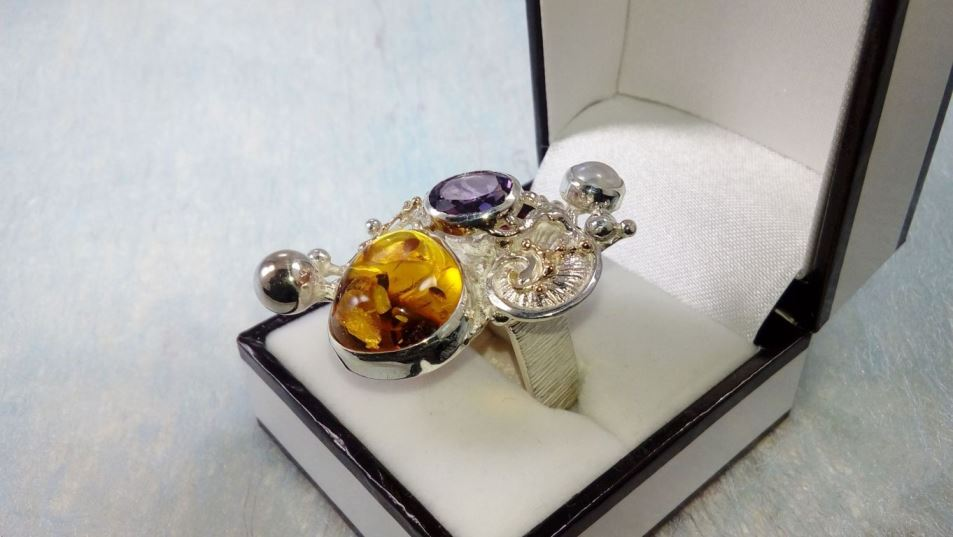Ring #1710, sterling silver, gold, amber, garnet, amethyst, pearl, original handmade, one of a kind jewellery, art jewellery, Gregory Pyra Piro