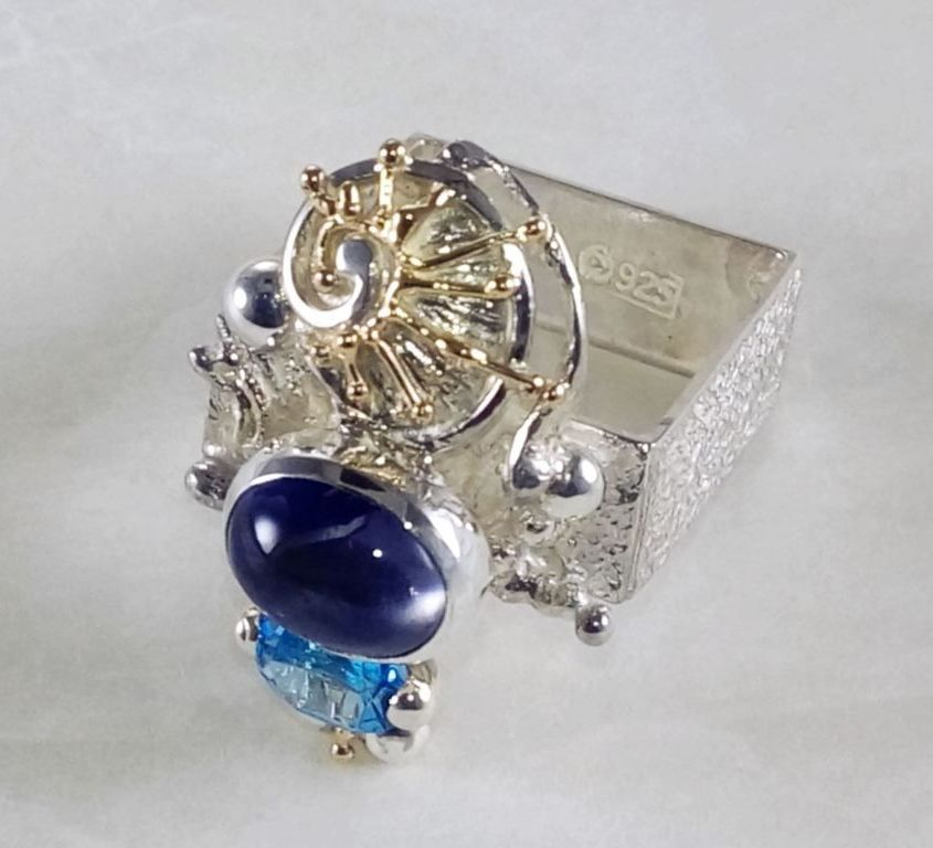 Gregory Pyra Piro Square Ring #1625, original handmade in sterling silver with solid 14 karat gold, facet cut blue topaz, cabochon iolite