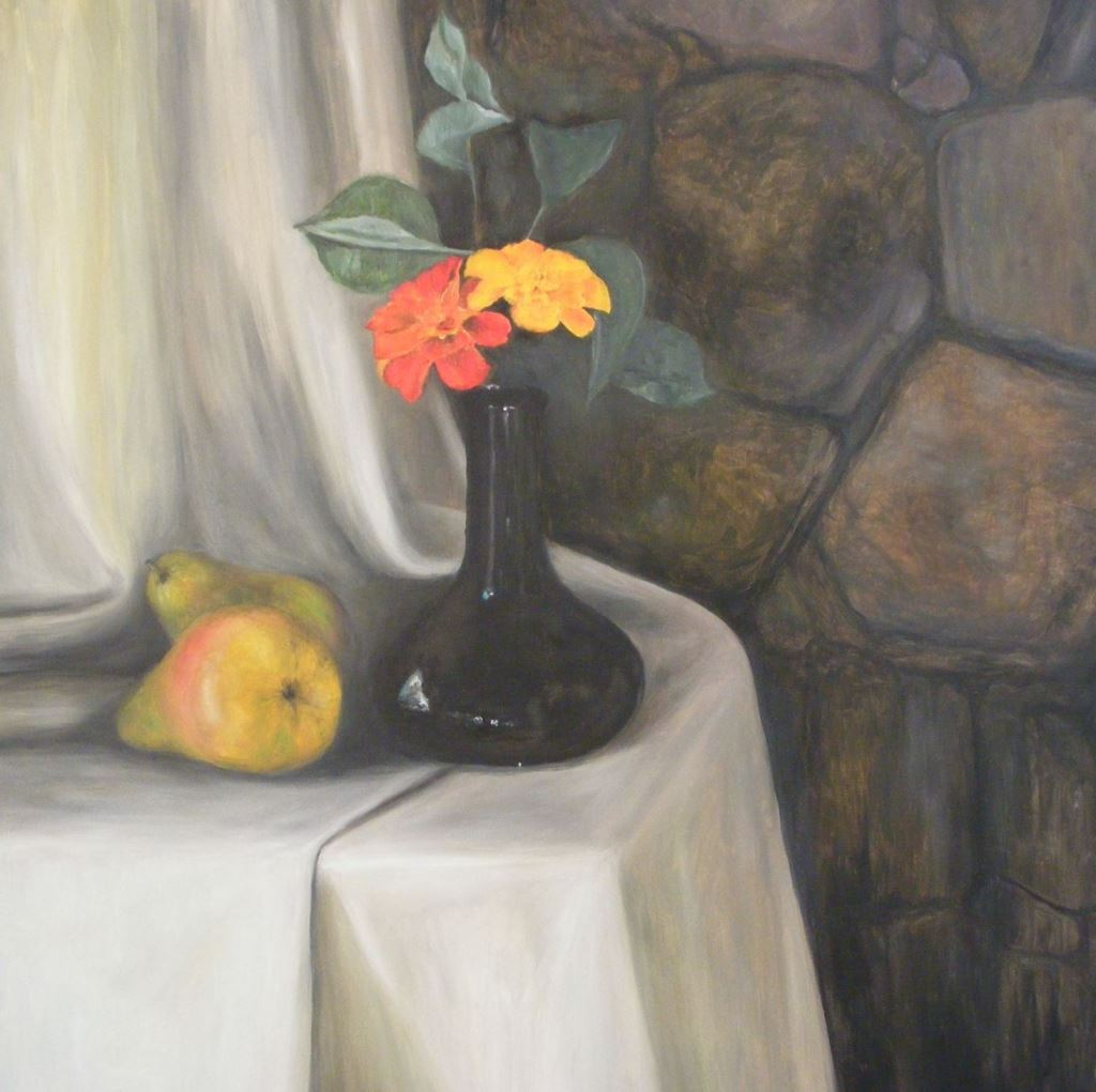 Oil Painting, Pears and Flowers, Still Life, Gregory Pyra Piro