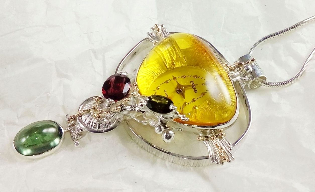Pendant with Watch Movement #837264 original handmade in sterling silver with solid 14 karat gold, amber, fluorite, garnet, and green tourmaline, original handmade, one of a kind jewellery