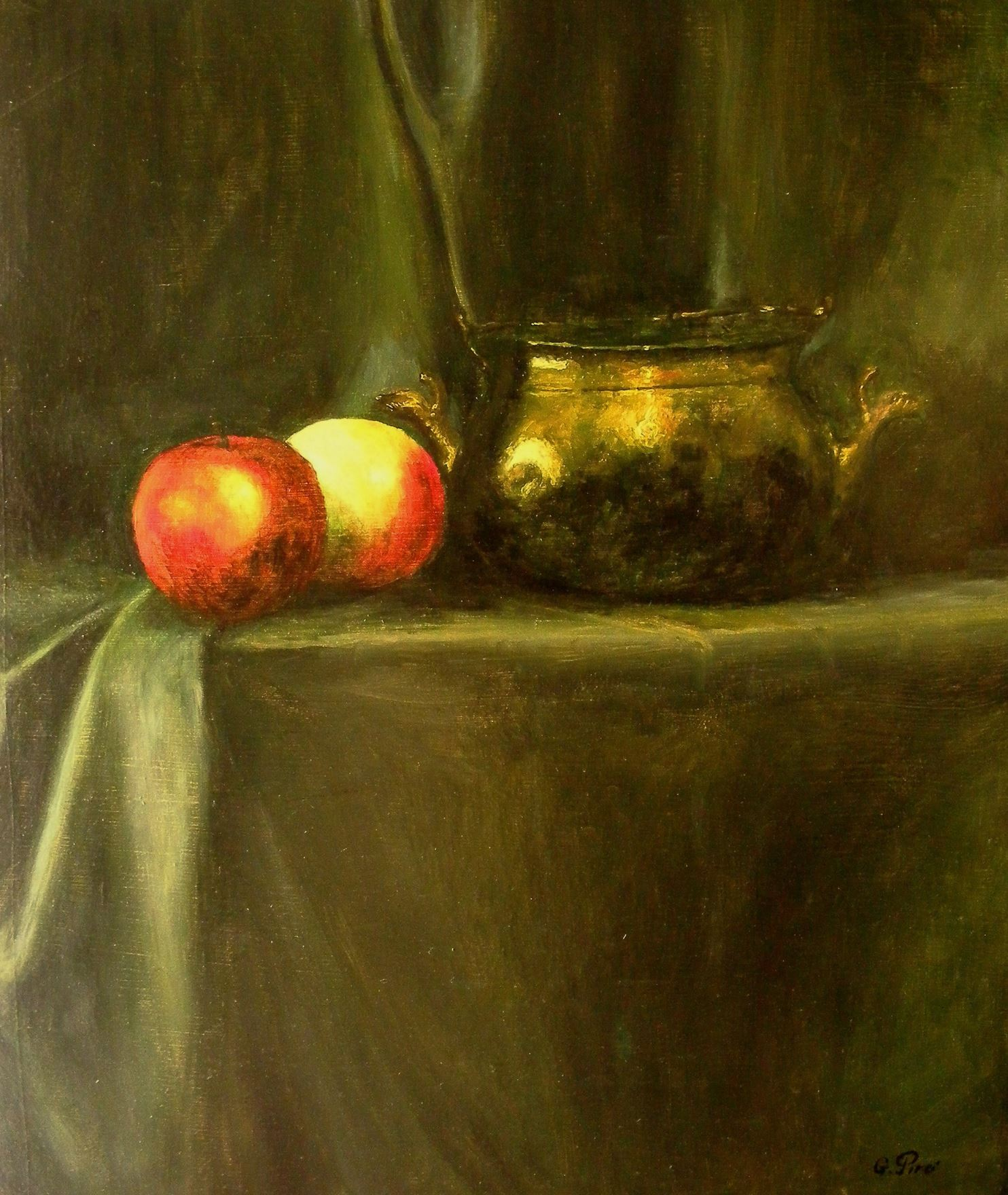 Oil Painting, Apples and Brass, Gregory Pyra Piro