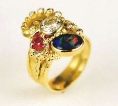Gregory Pyra Piro Bague Or 750 avec Opale, Rubi, et Diamants