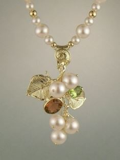 Gregory Pyra Piro Collier Broche en Or 750 avec Perles, Tourmaline Rose, et Péridot