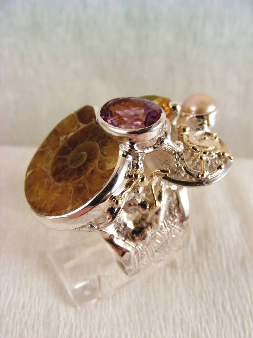 Gregory Pyra Piro Ring with Ammonite #5240, Original Handmade, Sterling Silver and Gold with Amethyst, Peridot, Citrine, Ammonite, Pearl