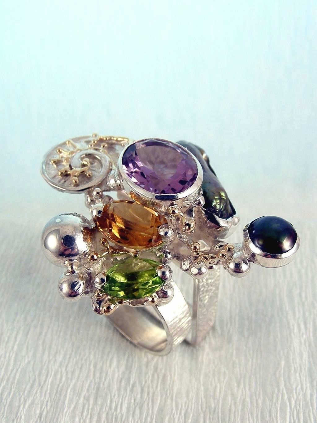 Original Handmade by Artist Designer Maker, Gregory Pyra Piro One of a Kind Original #Handmade #Sterling #Silver and #Gold, Jewellery in #London, #Art Jewellery, #Jewellery Handcrafted by #Artist, #Ring 1565