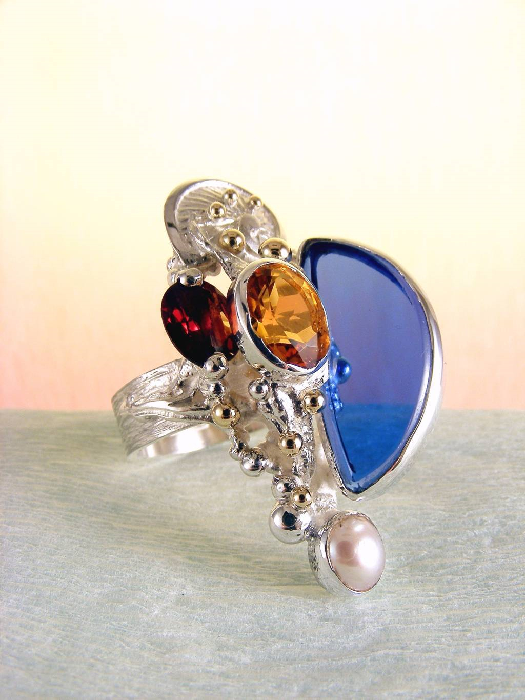Original Handcrafted, Sterling Silver and Gold, Garnet, Citrine, Glass, Ring with Citrine and Garnet #3624