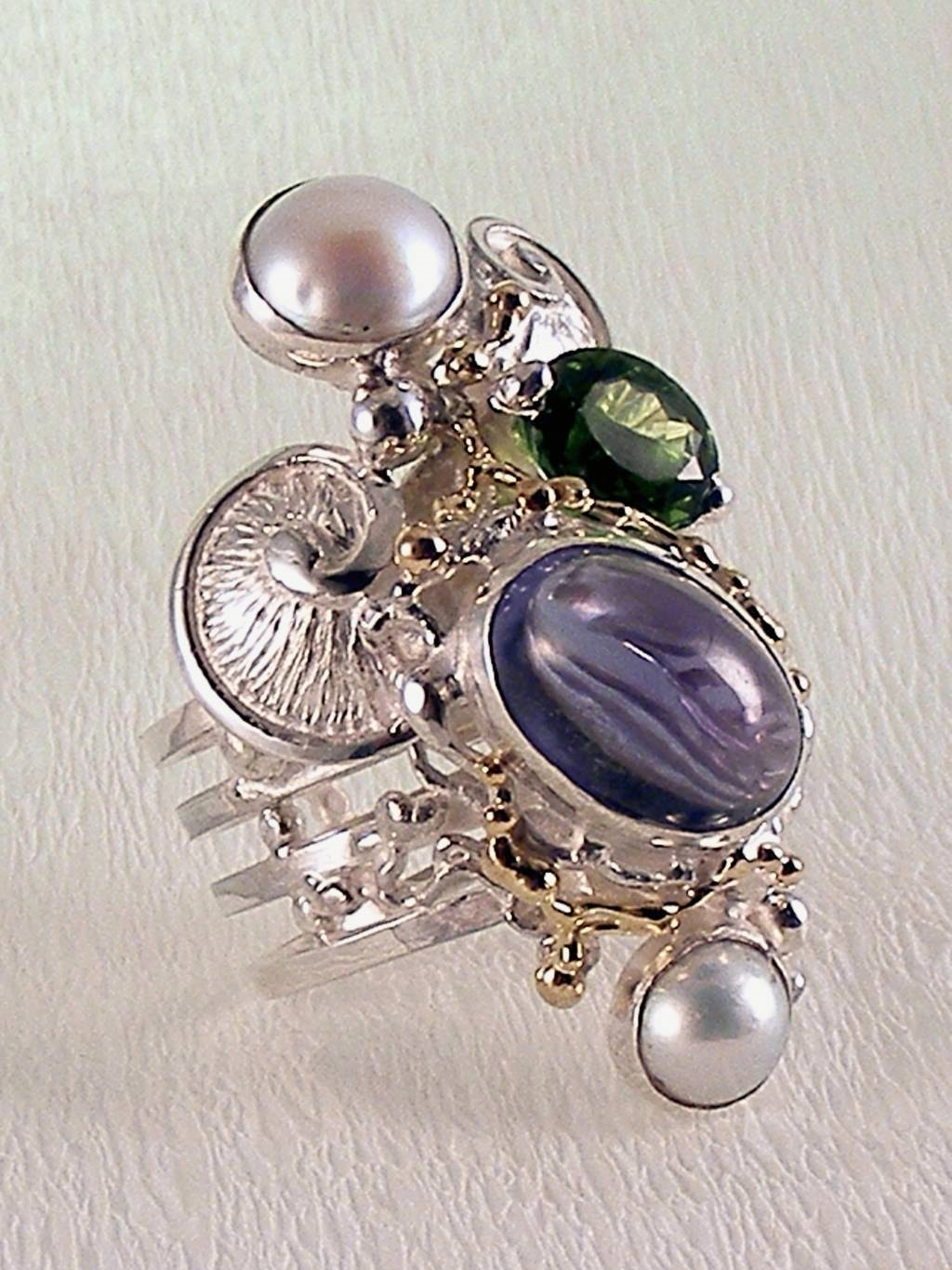 Gregory Pyra Piro Silver and Gold Square Rings with Gemstones