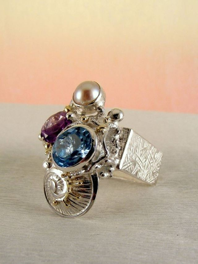 Gregory Pyra Piro Square Ring 2588 in Sterling Silver and 14 Karat Gold with Amethyst, Blue Topaz, and Pearl