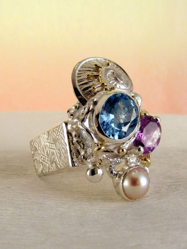 Gregory Pyra Piro Square Ring #2588 in Sterling Silver and 14 Karat Gold with Amethyst, Blue Topaz, and Pearl