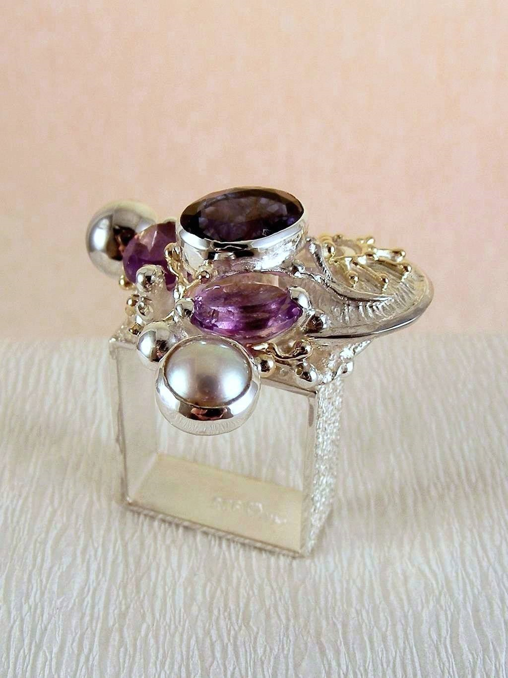 Original Handmade in Sterling Silver and 14 Karat Gold, Iolite, Amethyst, Pearls, One of a Kind Original Handmade Square Ring #3623