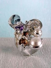 gregory pyra piro one of a kind #ring in sterling silver and gold with gemstones, art jewellery, new jewellery in London, jewellery handcrafted by artist