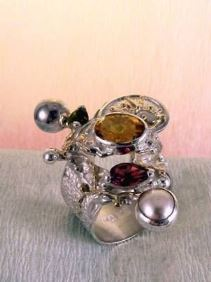 Original Handmade by Artist Designer Maker, Gregory Pyra Piro One of a Kind Original #Handmade #Sterling #Silver and #Gold, Jewellery in #London, #Art Jewellery, #Jewellery Handcrafted by #Artist, #Citrine and #Garnet #Ring 9435