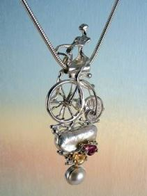gregory pyra piro one of a kind #pendant in sterling silver and gold with gemstones, art jewellery, new jewellery in London, jewellery handcrafted by artist