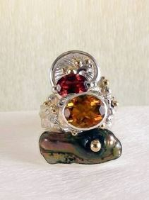 Original Handmade by Artist Designer Maker, Gregory Pyra Piro One of a Kind Original #Handmade #Sterling #Silver and #Gold, Jewellery in #London, #Art Jewellery, #Jewellery Handcrafted by #Artist, #Citrine and #Garnet #Ring 3292