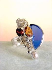 Original Handmade by Artist Designer Maker, Gregory Pyra Piro One of a Kind Original #Handmade #Sterling #Silver and #Gold, Jewellery in #London, #Art Jewellery, #Jewellery Handcrafted by #Artist, #Citrine and #Garnet #Ring 3624
